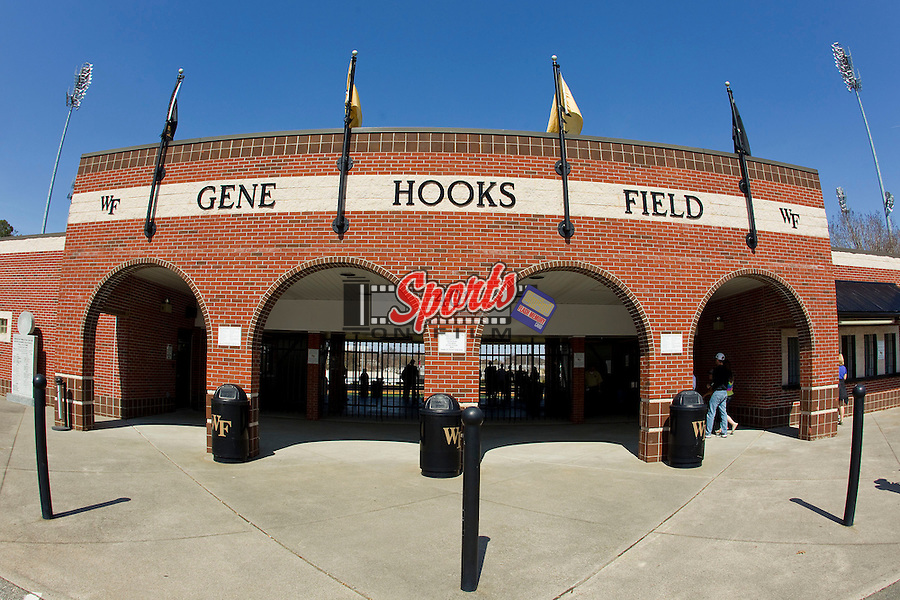 Gene Hooks Field, home of the Wake Forest Demon Deacons, prior to their game against the Virginia Cavaliers at Wake Forest Baseball Park on April 6, 2013 in Winston-Salem, North Carolina.  (Brian Westerholt/Sports On Film)
