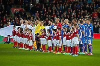 Wednesday 05 March 2014<br /> Pictured: Teams line up for the Pre match anthems<br /> Re: International friendly Wales v Iceland at the Cardiff City Stadium, Cardiff,Wales UK