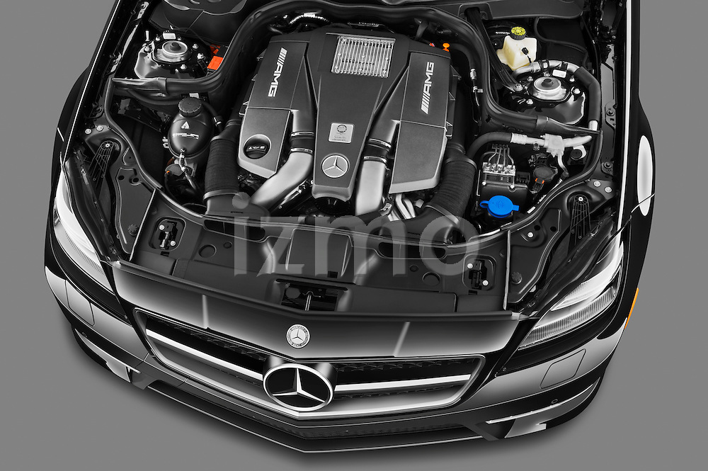 High angle engine detail photo of a 2013 Mercedes CLS Class AMG sedan