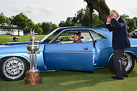 Kevin Na (USA), the trophy and the '73 Challenger for winning the 2019 Charles Schwab Challenge, Colonial Country Club, Ft. Worth, Texas,  USA. 5/26/2019.<br /> Picture: Golffile | Ken Murray<br /> <br /> All photo usage must carry mandatory copyright credit (© Golffile | Ken Murray)