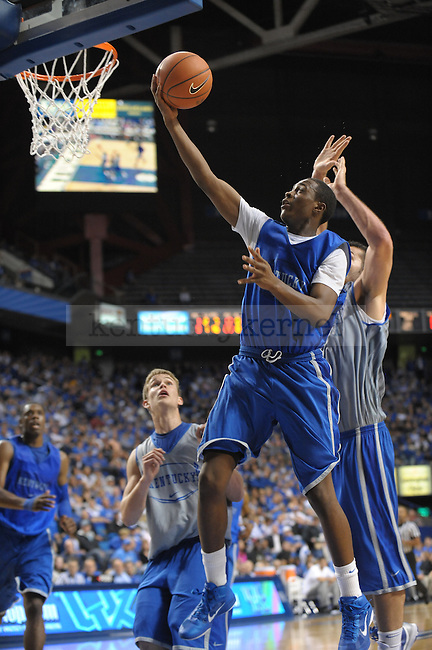 Freshman Doron Lamb lays in the ball during the UK mens basketball Blue/White scrimmage. Photo by Mike Weaver | Staff