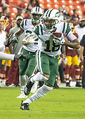 New York Jets wide receiver ArDarius Stewart (18) carries the ball in the fourth quarter against the Washington Redskins at FedEx Field in Landover, Maryland on Thursday, August 16, 2018.  The Redskins won the game 15 - 13.<br /> Credit: Ron Sachs / CNP<br /> (RESTRICTION: NO New York or New Jersey Newspapers or newspapers within a 75 mile radius of New York City)
