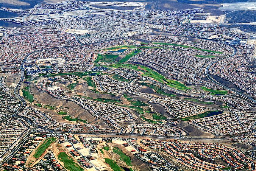 Aerial view new housing neighborhoods Las Vegas Nevada