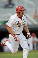 First baseman Casey Grayson (38) of the Johnson City Cardinals in a game against the Elizabethton Twins on Sunday, July 27, 2014, at Howard Johnson Field at Cardinal Park in Johnson City, Tennessee. The game was suspended due to weather in the fifth inning. (Tom Priddy/Four Seam Images)
