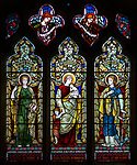 Stained glass window, Shimpling church, Suffolk, England, UK c 1890 by Powell, Faith Hope and Charity