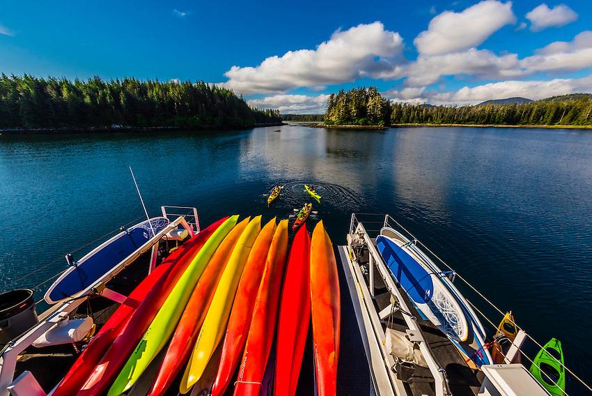 Sea kayaks on the stern of the Wilderness Explorer, Un-Cruise Adventures, Magoun Islands State Park, Krestof Sound, Inside Passage, southeast Alaska USA.