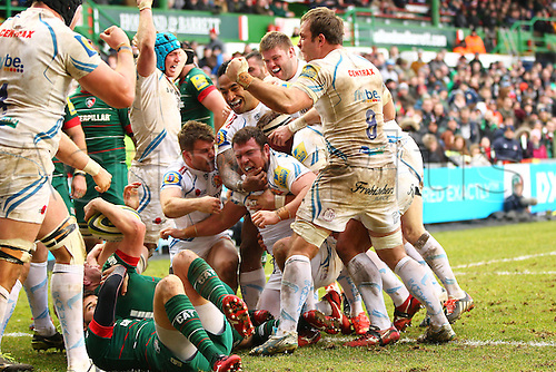 15.03.2015.  Leicester, England. LV Cup Semi Final. Leicester Tigers versus Exeter Chiefs.  Greg Bateman (Exeter) and his fellow forwards celebrate the match winning try.