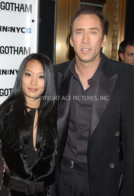 WWW.ACEPIXS.COM . . . . . ..New York, November 17, 2004: Nicolas Cage and his wife at Gotham Magazine's 5th Anniversary Party. Please byline: ACE006 - ACE PICTURES.. . . . . . ..Ace Pictures, Inc:  ..Alecsey Boldeskul (646) 267-6913 ..Philip Vaughan (646) 769-0430..e-mail: info@acepixs.com..web: http://www.acepixs.com