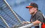 20 September 2013: Miami Marlins Manager Mike Redmond watches his team take batting practice prior to a game against the Washington Nationals at Nationals Park in Washington, DC. The Nationals defeated the Marlins 8-0 to take the second game of their 4-game series. Mandatory Credit: Ed Wolfstein Photo *** RAW (NEF) Image File Available ***