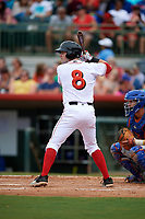 Florida Fire Frogs third baseman Andrew Daniel (8) at bat during a game against the St. Lucie Mets on July 23, 2017 at Osceola County Stadium in Kissimmee, Florida.  St. Lucie defeated Florida 3-2.  (Mike Janes/Four Seam Images)