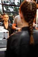 SAO PAULO, SP, 18 DE MARCO 2013 - SPFW TUFI DUEK - Modelo durante backtage da grife Tufi Duek no primeiro dia do São Paulo Fashion Week primavera-verão na Bienal do Ibirapuera na região sul da cidade de São Paulo nesta segunda-feira, 18. .FOTO: POLINE LYS - BRAZIL PHOTO PRESS.
