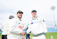 Picture by Allan McKenzie/SWpix.com - 20/04/2018 - Cricket - Specsavers County Championship - Yorkshire County Cricket Club v Nottinghamshire County Cricket Club - Emerald Headingley Stadium, Leeds, England - Stephen Mullaney and Gary Ballance shake hands at the coin toss.