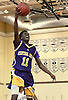 Ryan Beckles #11 of Central Islip drives to the net for two points in the third quarter of the Suffolk County varsity boys basketball Class AA quarterfinals against host Bay Shore High School on Tuesday, Feb. 21, 2017. Bay Shore won by a score of 61-34.