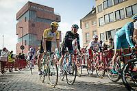 Luke Row (GBR/SKY) & Sep Vanmarcke (BEL/LottoNL-Jumbo) leaving the MAS museum (in the back) start square <br /> <br /> 103rd Scheldeprijs 2015