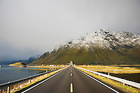 HIghway E 10 looking towards Gimsøy from near Gimsøystraumen bridge, Lofoten islands, Norway