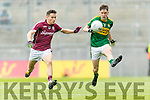 Michael Potts Kerry in action against Finian Ó Laoi  Galway in the All Ireland Minor Football Final in Croke Park on Sunday.