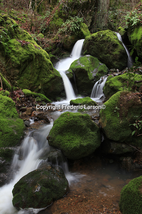 A small water fall stream near dry Creek Road in Napa Valley California.