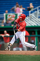 Batavia Muckdogs catcher Keegan Fish (6) swings at a pitch during a game against the Auburn Doubledays on September 2, 2018 at Dwyer Stadium in Batavia, New York.  Batavia defeated Auburn 5-4.  (Mike Janes/Four Seam Images)