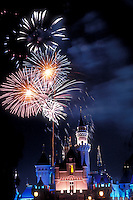 Sleeping Beauty, Castle, fairy tale, structure, Disneyland, Anaheim, CA, lit at night, fireworks, vertical