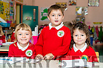 Junior infants, who started school at Derryquay National School were l-r: Ellen Herlihy, Seamus Hingston and Sophie Mulgrew,