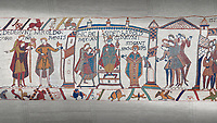 Bayeux Tapestry scene 29 - 30: Harold is proclaimed King then crowned.