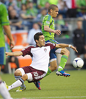SEATTLE WASHINGTON - Saturday, July 7, 2012: The Seattle Sounders FC in an MLS match against the Colorado Rapids on XBox Pitch at CenturyLink Field. The Sounders won the match 2-1.