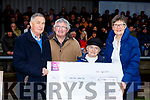 Kathleen O'Sullivan presented a Cheque to Iveragh Mental Health at the South Kerry Final on Saturday proceeds from the sale of the CD Songs from the Upper Deck, pictured here l-r; Jackie O'Sullivan(Chairman IMH), Christy O'Connell(Secretary IMH), Kathleen O'Sullivan & Kathleen Sugrue(Treasure IMH).