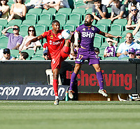 11th January 2020; HBF Park, Perth, Western Australia, Australia; A League Football, Perth Glory versus Adelaide United; Michael Maria from Adelaide United wins the high ball from Diego Castro of the Perth Glory - Editorial Use