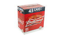 A pack of 45 355ml cans of Budweiser beer is pictured over a pure white background.