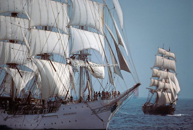 Square Rigger; Christian Radich, Sail race, Operation Sail Tall Ships; Sail Training Association; US Bicentennial; Atlantic Ocean; adventure; STA, 1976, Seamanship, cadet training