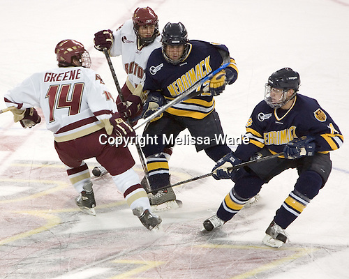 Matt Greene, Joe Adams, Jordan Black, Brian Boulay - Boston College defeated Merrimack College 3-0 with Tim Filangieri's first two collegiate goals on November 26, 2005 at Kelley Rink/Conte Forum in Chestnut Hill, MA.