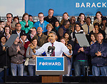 September 22, 2012- Milwaukee, United States: President Barack Obama addresses a crowd of thousands at the Summerfest grounds as rain begins to fall. The President campaigned in the battleground state Saturday where he also attended a private fundraiser. (Christina Capasso/Polaris)