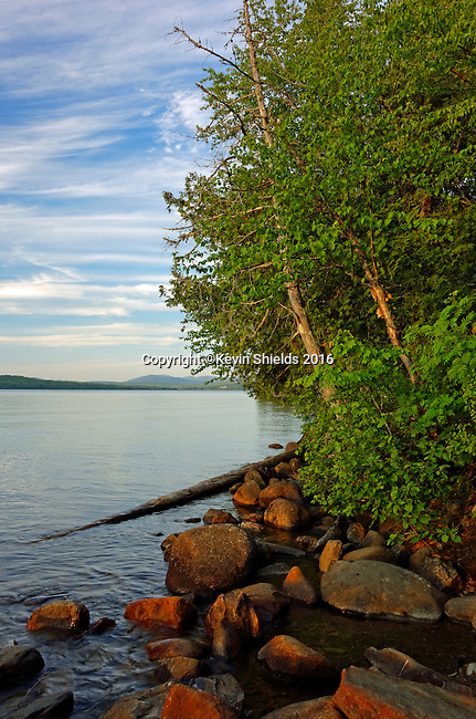 View of Rangeley Lake from the campground, Rangeley, Maine, USA.