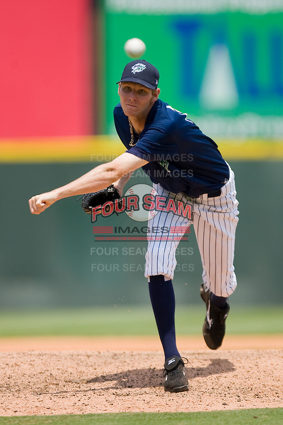 Chris Sale #14 of the Charlotte Knights in action against the Louisville Bats at Knights Stadium July 20, 2010, in Fort Mill, South Carolina.  Sale was selected in the first round, 13th overall, by the Chicago White Sox in the 2010 First Year Player Draft.  Photo by Brian Westerholt / Four Seam Images