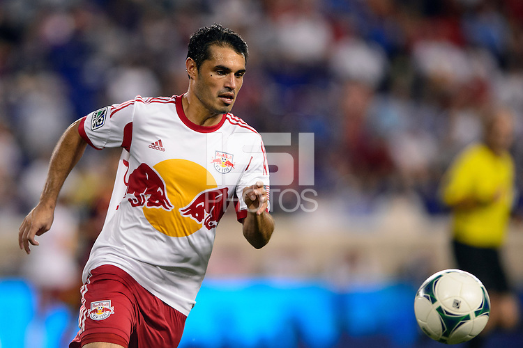 Fabian Espindola (9) of the New York Red Bulls. The New York Red Bulls defeated Real Salt Lake 4-3 during a Major League Soccer (MLS) match at Red Bull Arena in Harrison, NJ, on July 27, 2013.