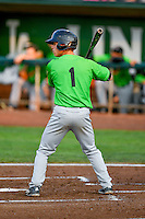 Mitch Roman (1) of the Great Falls Voyagers at bat against the Ogden Raptors in Pioneer League action at Lindquist Field on August 18, 2016 in Ogden, Utah. Ogden defeated Great Falls 10-6. (Stephen Smith/Four Seam Images)