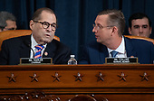 United States Representative Jerrold Nadler (Democrat of New York), Chairman, US House Judiciary Committee, speaks with US Representative Doug Collins (Republican of Georgia), Ranking Member, US House Judiciary Committee, during a House Judiciary Committee hearing on the impeachment of US President Donald Trump on Capitol Hill in Washington, DC, December 4, 2019.<br /> Credit: Saul Loeb / Pool via CNP