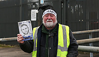 A seller selling match proggramme ahead of the Sky Bet League 1 match between Oldham Athletic and Bristol Rovers at Boundary Park, Oldham, England on 30 December 2017. Photo by Juel Miah / PRiME Media Images.