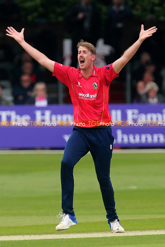 Matt Quinn of Essex with an appeal for the wicket of Tom Alsop during Essex Eagles vs Hampshire, Royal London One-Day Cup Cricket at The Cloudfm County Ground on 30th April 2017