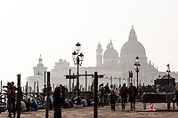 Italy, Venice. Santa Maria della Salute in the background.