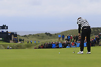 Tommy Fleetwood (ENG) putts on the 16th green during Sunday's Final Round of the 148th Open Championship, Royal Portrush Golf Club, Portrush, County Antrim, Northern Ireland. 21/07/2019.<br /> Picture Eoin Clarke / Golffile.ie<br /> <br /> All photo usage must carry mandatory copyright credit (© Golffile | Eoin Clarke)