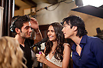 Actors Ian Somerhalder (right) and Nina Dobrev (left) joke around between takes on the set of the season three premiere of The Vampire Diaries in Decatur, Georgia July 18, 2011.