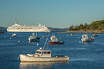 A cruise ship on Frenchman Bay in Bar Harbor, Maine, USA