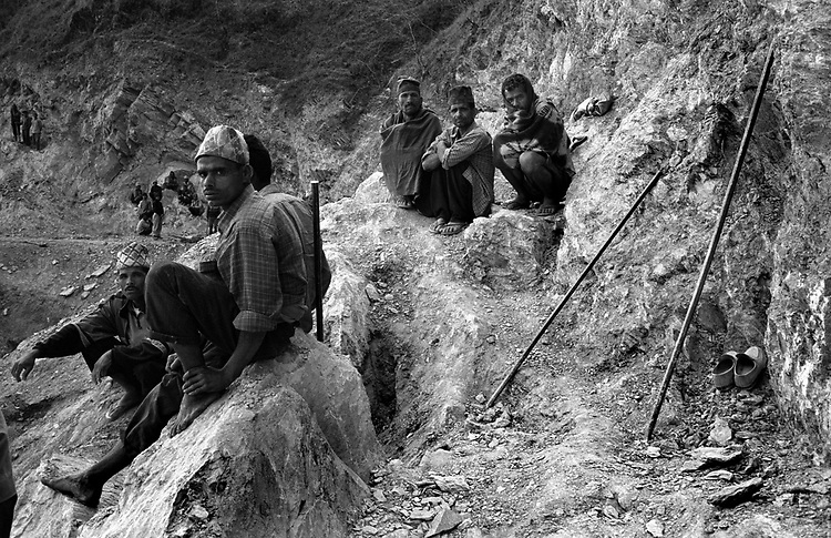 March 24, 2005<br /> Forced labors work for a road construction for the Maoists in Rolpa, Nepal.<br /> (Photo by Toru Morimoto)
