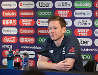 Eoin Morgan (England) during a Press Conference at Edgbaston Stadium on 10th July 2019