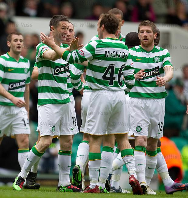 Robbie Keane celebrates his goal for Celtic