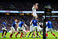 George Kruis of England wins the ball at a lineout. Guinness Six Nations match between England and France on February 10, 2019 at Twickenham Stadium in London, England. Photo by: Patrick Khachfe / Onside Images