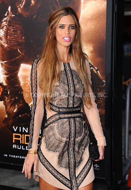 WWW.ACEPIXS.COM<br /> <br /> August 28 2013, LA<br /> <br /> Lydia McLaughlin arriving at the Los Angeles premiere of 'Riddick' at the Westwood Village Theatre on August 28, 2013 in Westwood, California.<br /> <br /> By Line: Peter West/ACE Pictures<br /> <br /> <br /> ACE Pictures, Inc.<br /> tel: 646 769 0430<br /> Email: info@acepixs.com<br /> www.acepixs.com