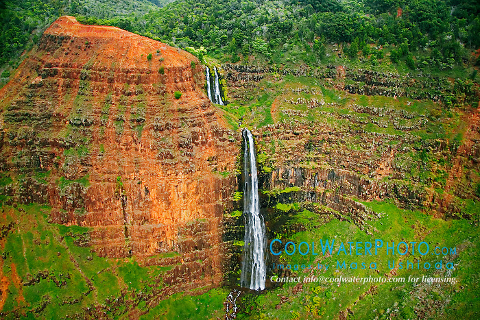 "Waipo`o or Waipoo Falls (approx. 800 foot drop), Waimea Canyon, the ""Grand Canyon of the Pacific"", approximately one mile wide and ten miles long, more than 3,500 feet deep, State Park, Kauai, Hawaii"