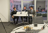 From left, Donovan Dennis '16, Mason Atkins '15 and Ricardo Parada '18. Occidental College students host Electapalooza in the Varelas Innovation Lab for the 2014 midterm elections on election night, Tuesday, Nov. 4, 2014. Sponsored by KOXY, the Occidental Weekly, and CatAlist TV, in partnership with the CDLR, the Critical Making Studio, and the Occidental Politics Department. (Photo by Marc Campos, Occidental College Photographer)
